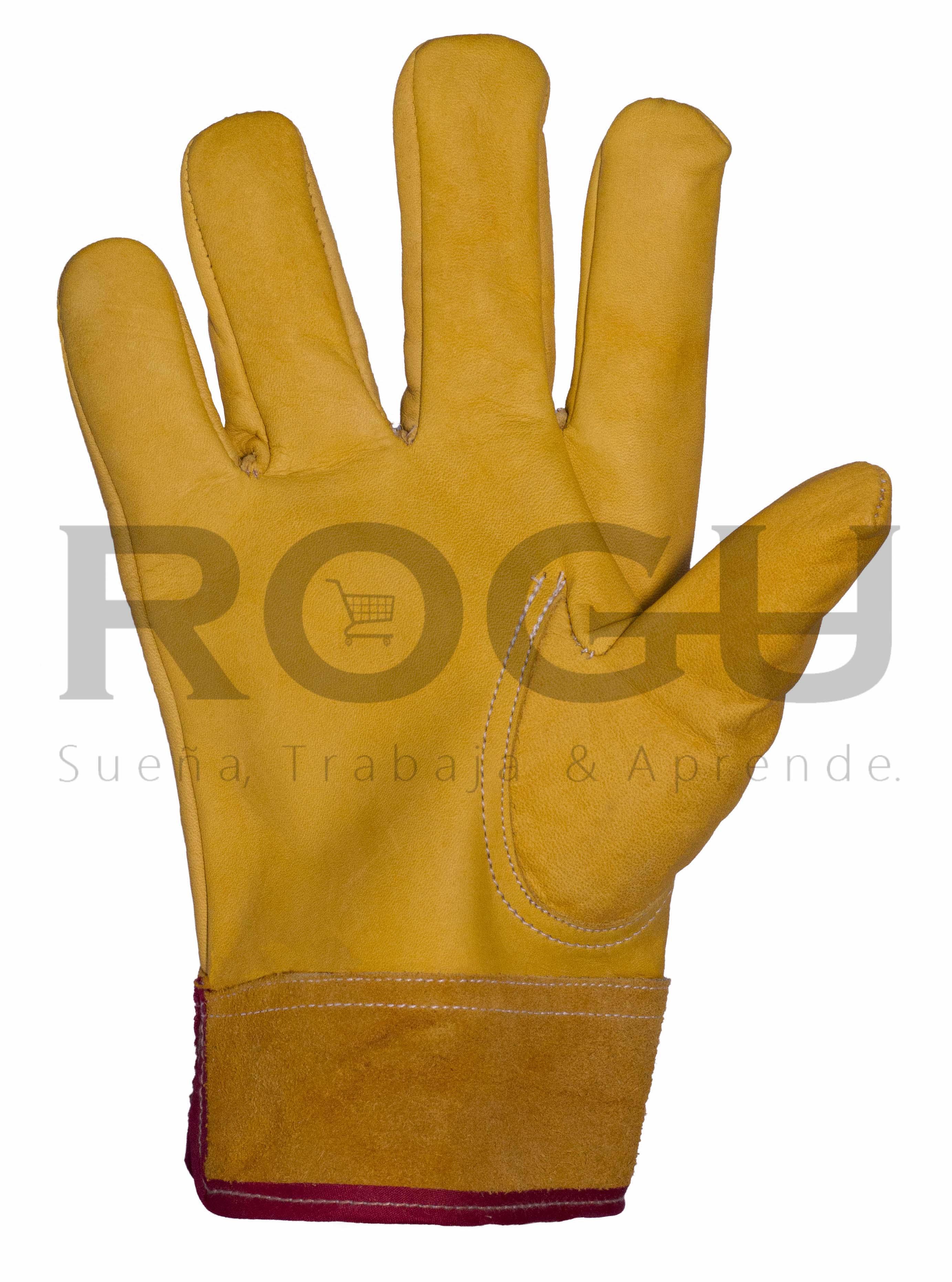 guante de electricista piel de res amarillo